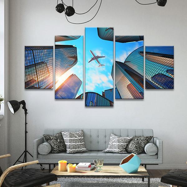 Urban Flight Multi Panel Canvas Wall Art In 2020 Airplane Wall Art Wall Canvas Canvas Wall Art