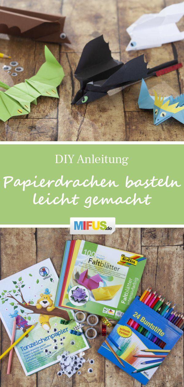 Papierdrachen basteln leicht gemacht - mit Anleitung