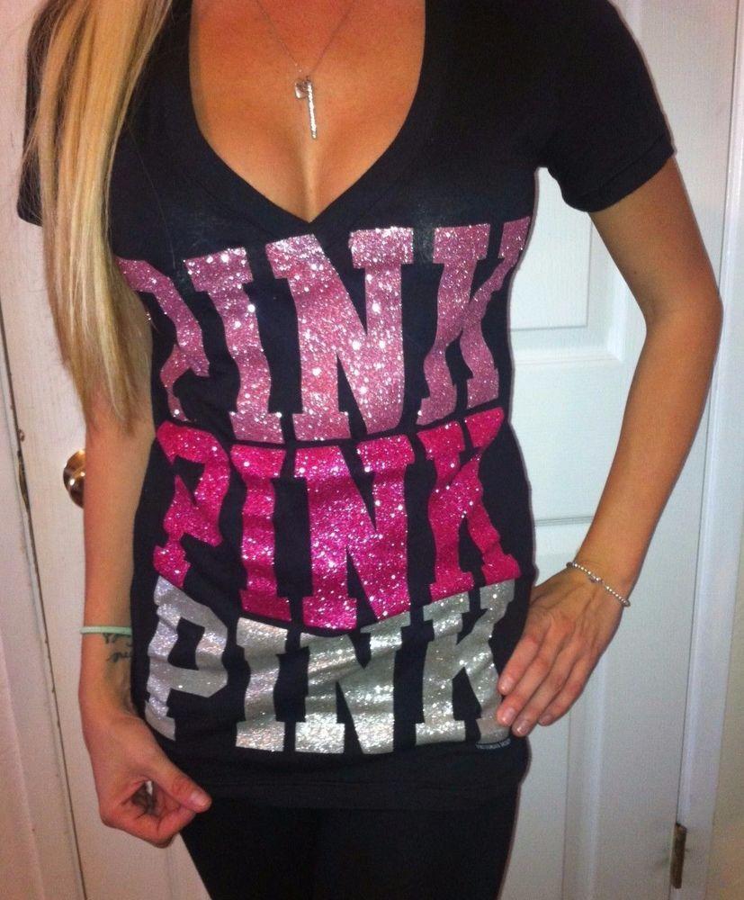 5bb8eebd68d2f Victoria's Secret Love Pink Black V neck T shirt top PINK Glitter ...