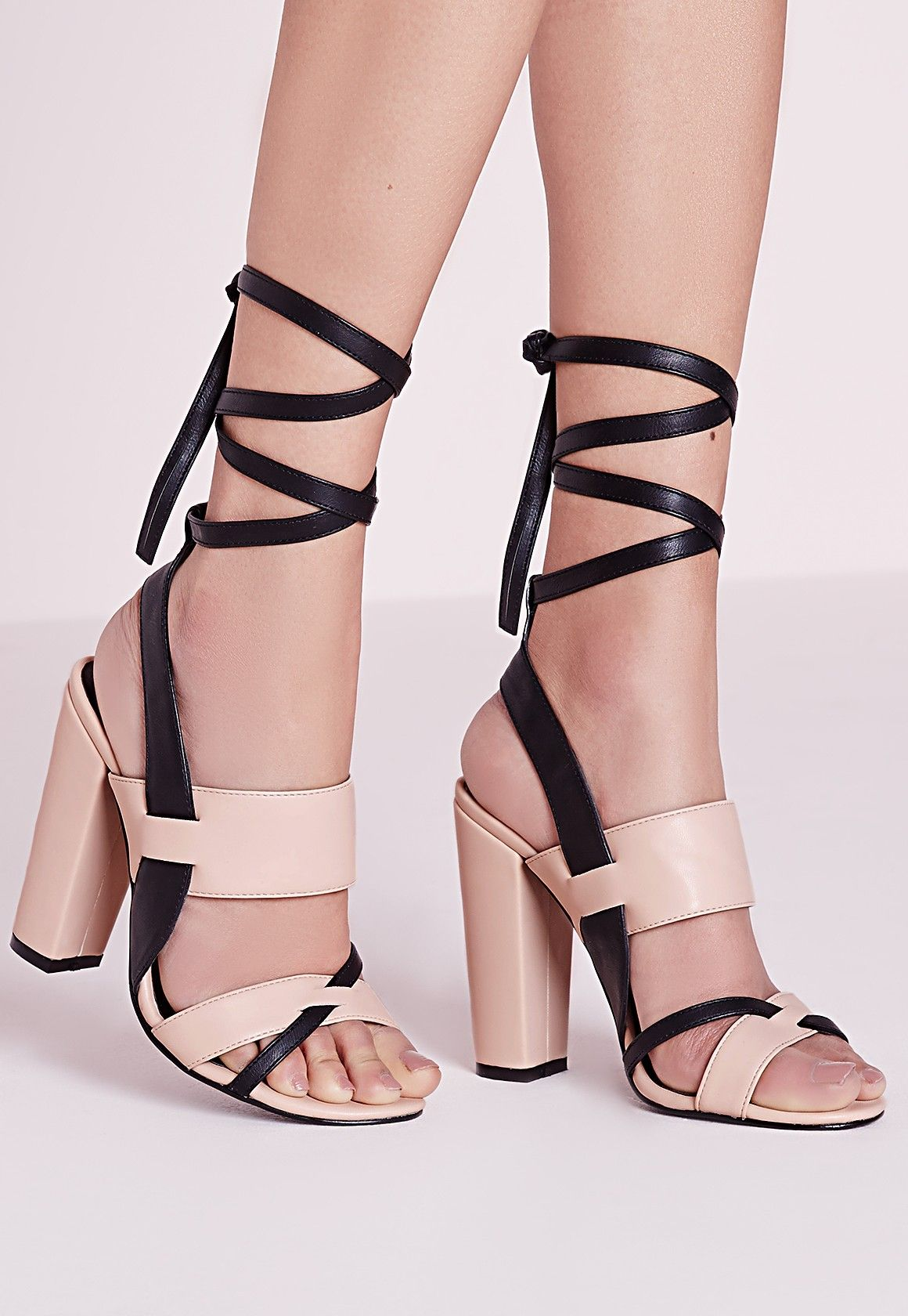 048085243c8 Missguided - Contrast Ankle Tie Block Heel Sandals Nude