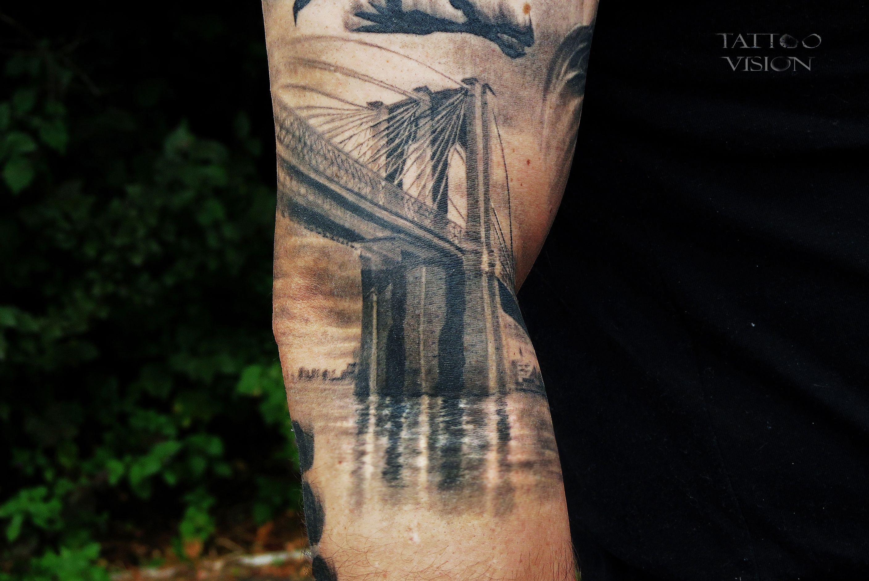 Brooklyn bridge realistic black gray tattoos pinterest for Brooklyn tattoo ideas