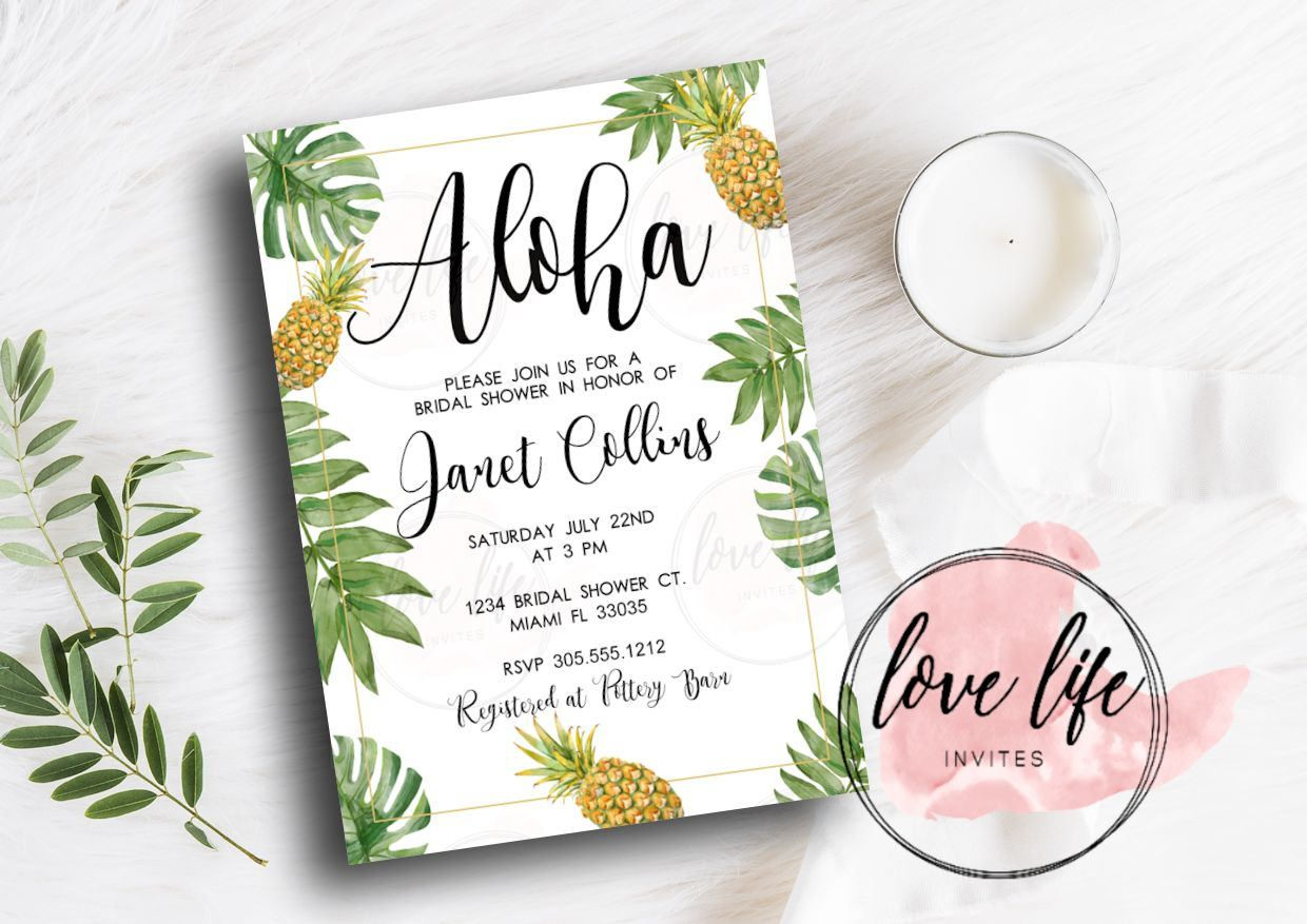 pineapple tropical bridal shower invitation gold pineapple party
