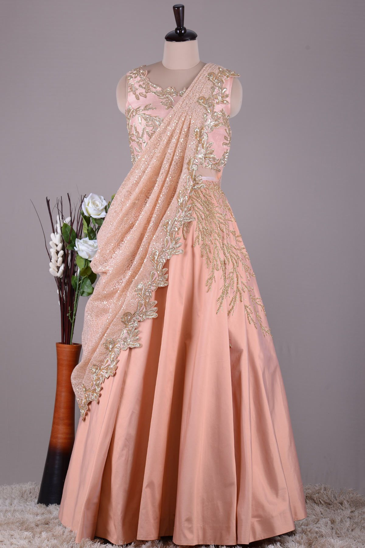 63768c93516 Buy Peach Silk Cutdana Embroidered Draped Gown Online
