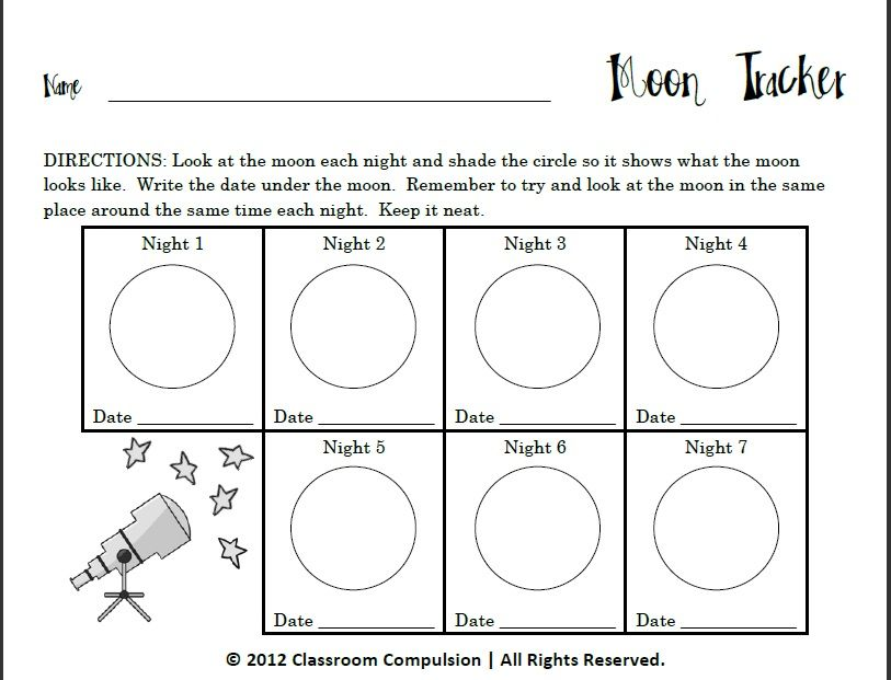 Moon Tracker for Moon Phases Unit – Phases of the Moon for Kids Worksheet