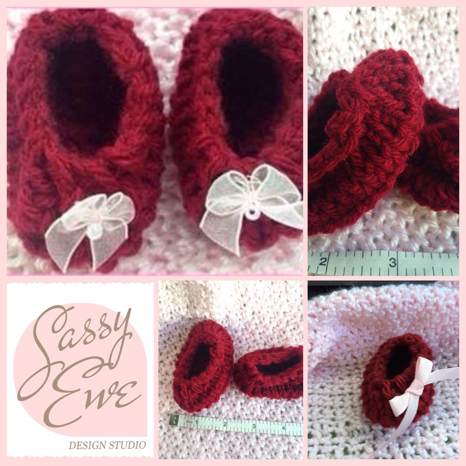 Hand Knitted Baby Booties Baby Slippers Keepsake Valentines Day