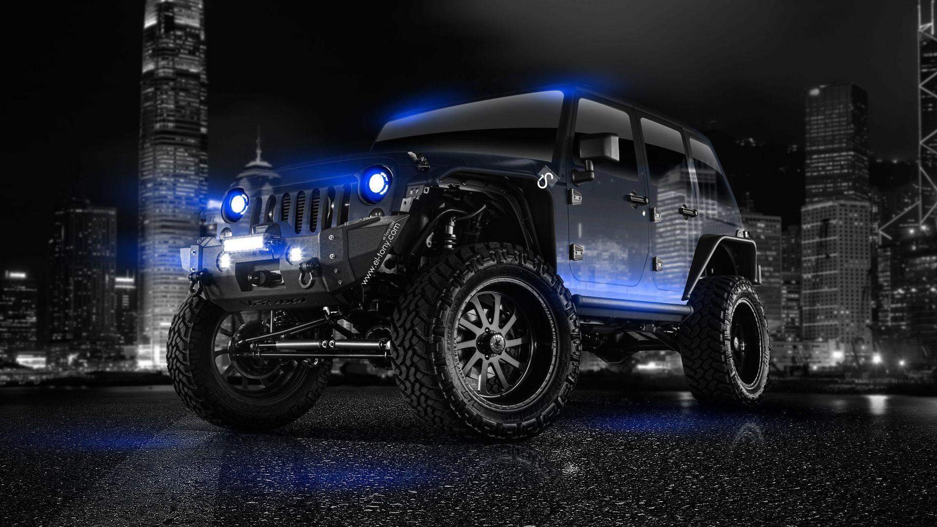 Hd wallpaper jeep - Jeep Wrangler Crystal City Car 2014 Blue Neon