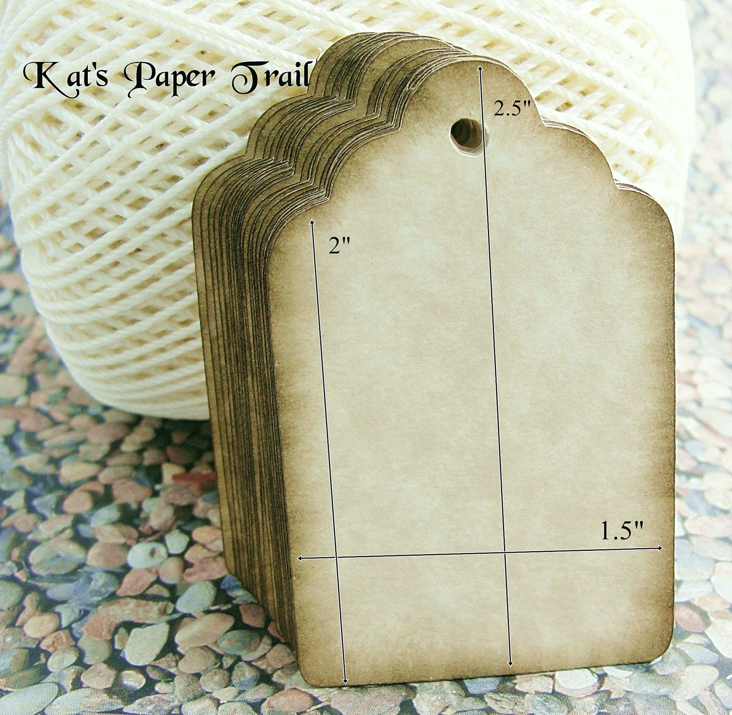 """Rustic Tags - Wedding Favor Tags - Vintage - Made to Order - 2.5"""" x 1.5"""" - Set of 50. $14.00, via Etsy."""