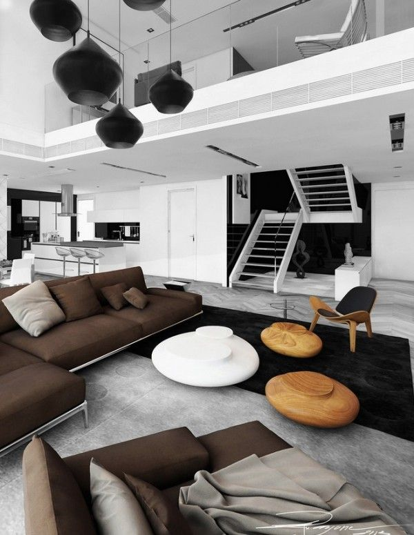 Elegant Inspirational Interior Ideas From Bauhaus Architects U0026 Associates Open Plan  Brown White Living Space