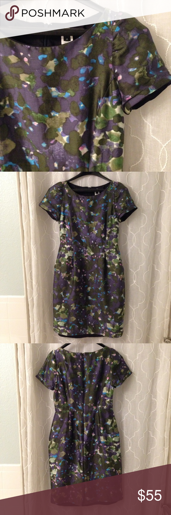 J crew Lillian garden shade sheath 4 EXTRA PICS Extra pictures.  Beautiful dress. Has a slight sheen from the silk.  Hand washed, in retrospect not smart, so the lining is now slightly longer than the dress.  Easily remedied by a seamstress.  Still very beautiful, and in great condition.  Make an offer! J. Crew Dresses Midi