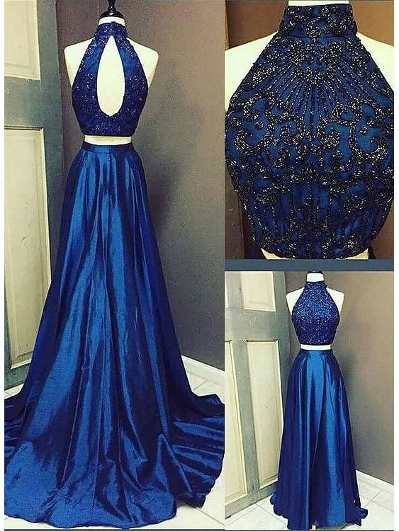 71607e7adb6 A-line Princess Halter High Neck Beaded Two Piece Prom Dresses APD3037