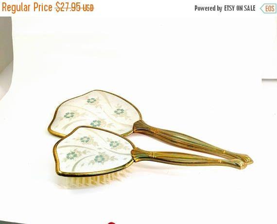 spring sale gold vanity brush and mirror set shabby chic
