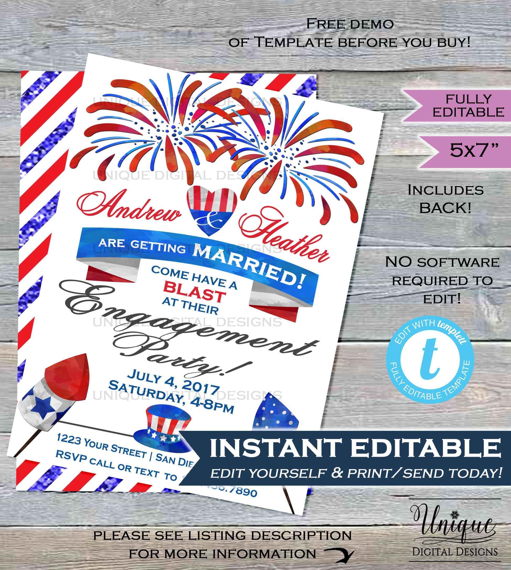 4th Of July Engagement Party Invitation, Editable Red