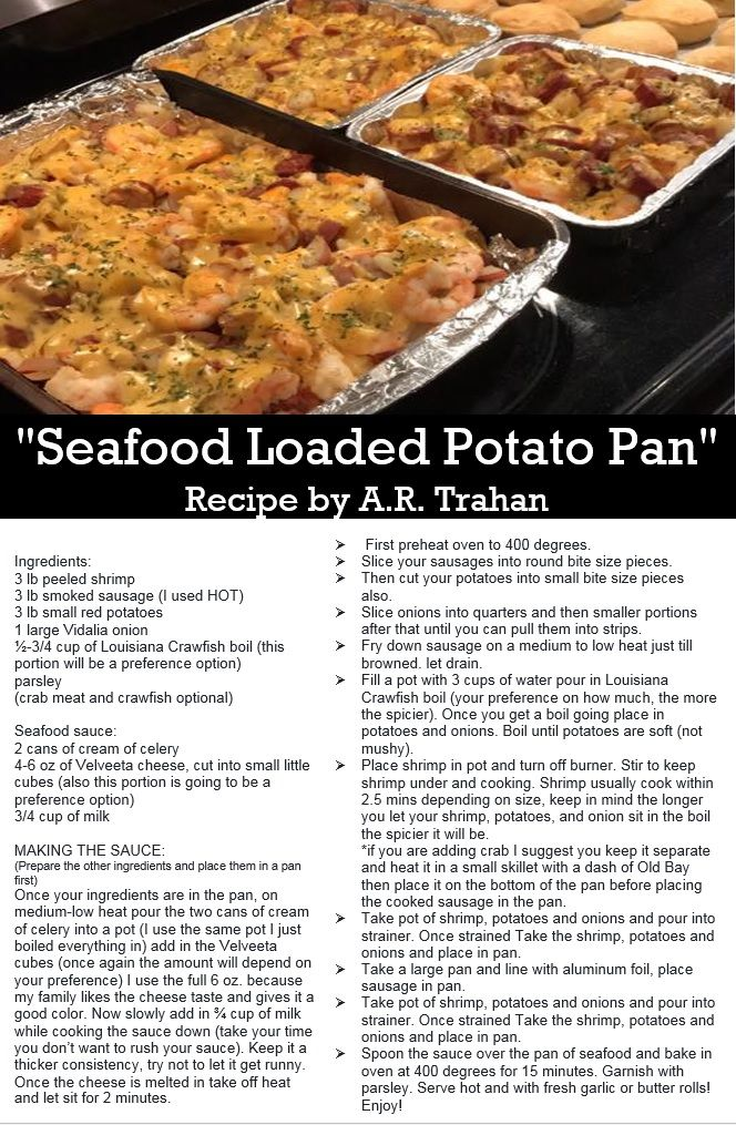 Seafood Loaded Potato Pan Recipe By Ar Trahan Spicy