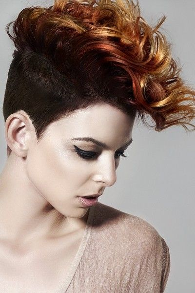 Punky Curly Faux Hawk With Bangs   Elegant Hairstyles.com