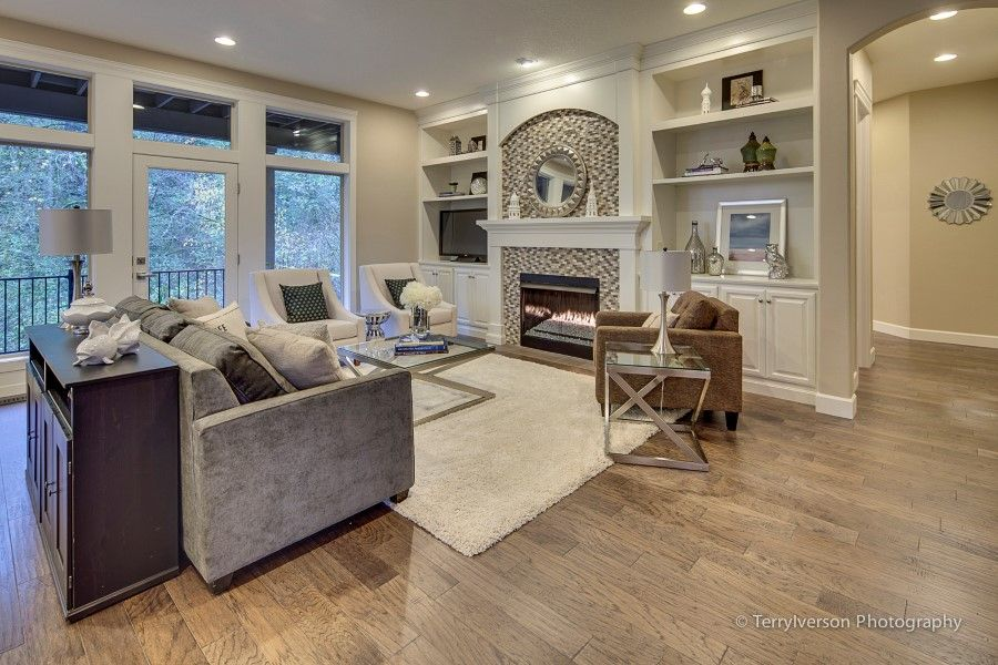 Luxury Great Room Living Room Family Room With Fire Place Built In Cabinets And Shelving For