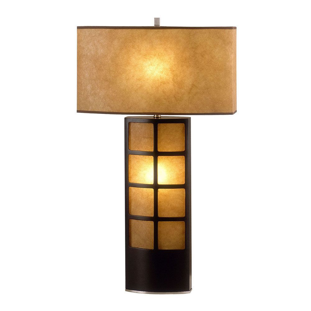 Nova Lightings Ventana Modern Table Lamp Has A Simple And Four Way Switch Design Compelling Its Round Parchment Shade Contrasts Nicely With The Square Dark Brown Base This Two Light Features
