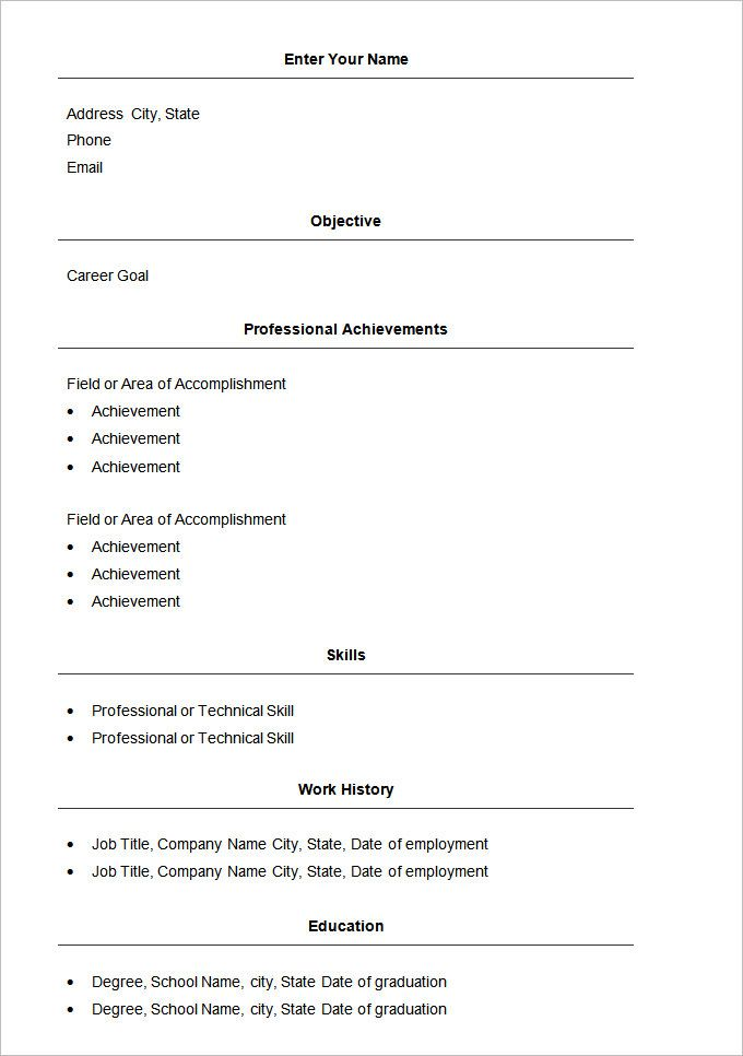 Basic Resume Template u2013 51+ Free Samples, Examples, Format - free basic resume templates