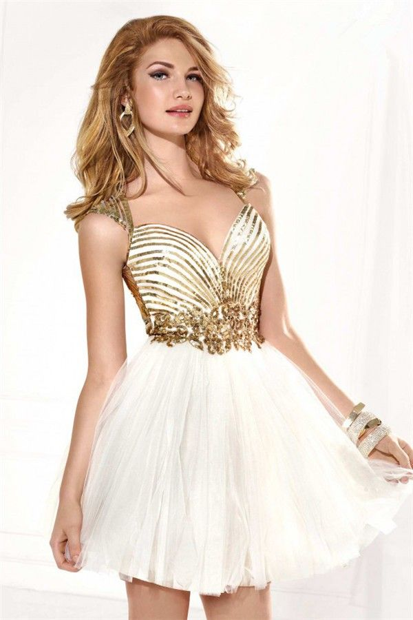 Sweetheart Open Back Short White Tulle Gold Sequined Homecoming Prom ...