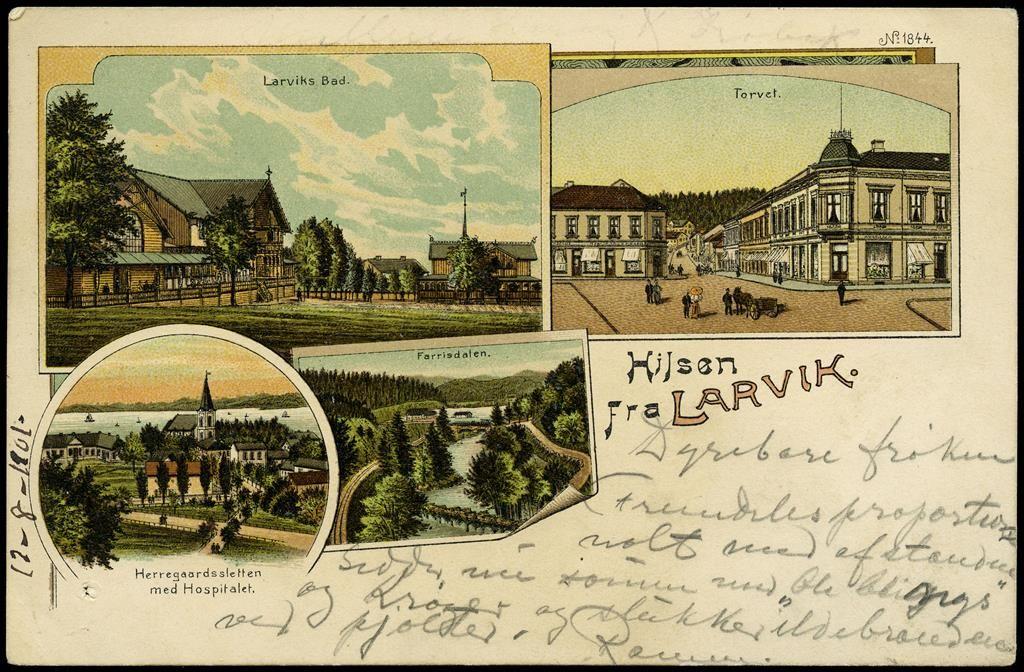 Larvik Norway I Vestfold Fylke Fint Kolorert Kort Br 1901