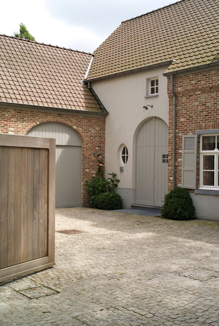 Exterior Detailing French Grey Woodwork Soft Clean White Render And Red Brick Colour Palette