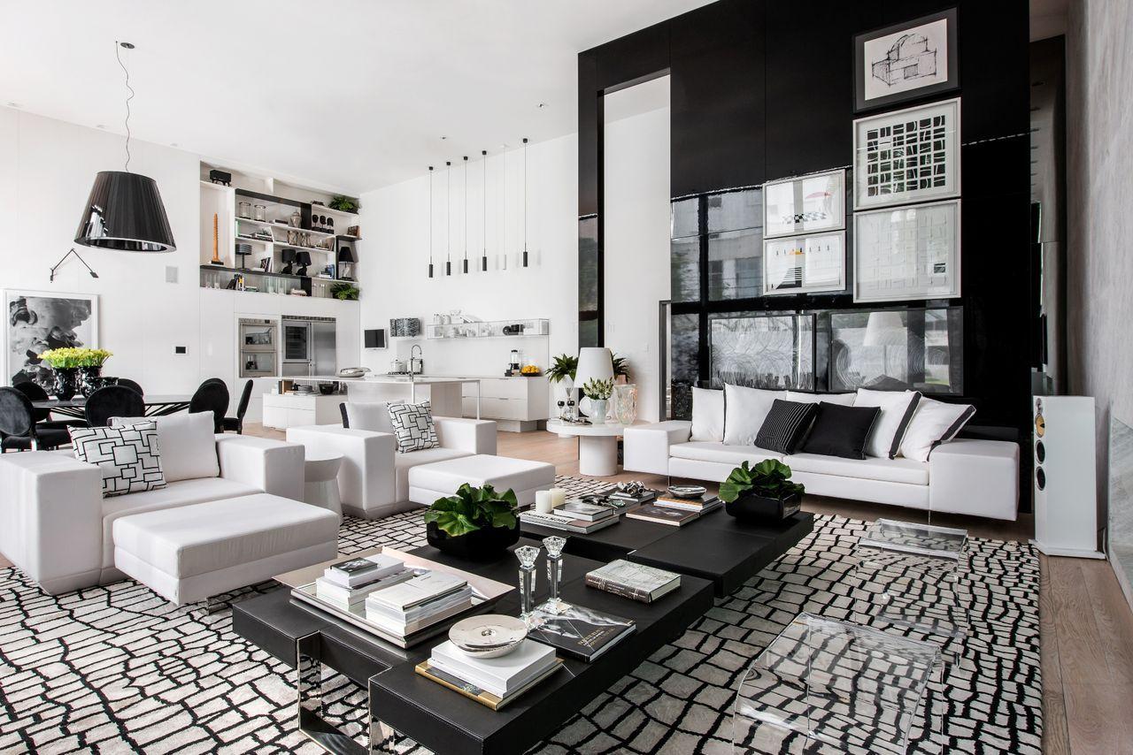 Sala De Estar Moderna Em Preto E Branco Com Tapete Sala De Estar  -> Tapete Sala Estar
