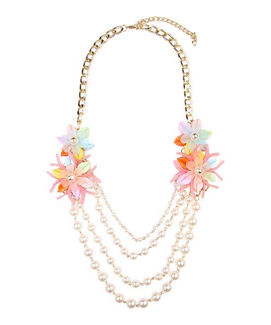 Faux Pearl & Peach Floral-Accent Bib Necklace