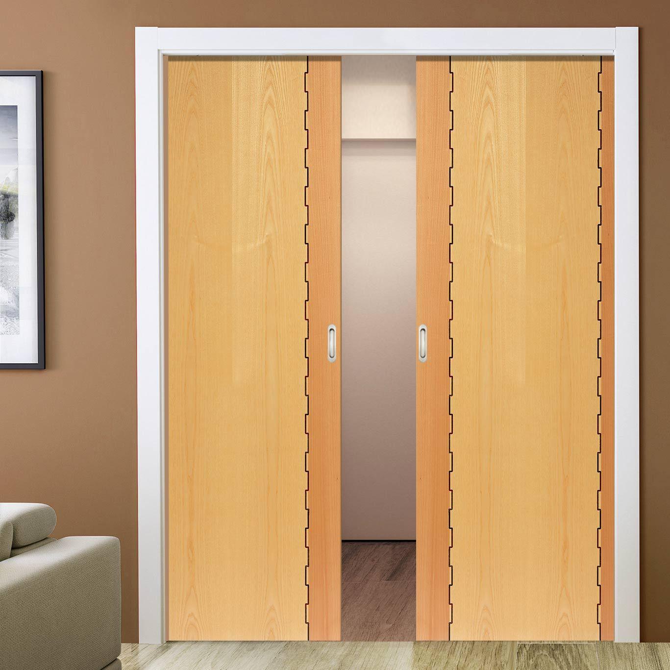 Double pocket empire honduras beech u oak sliding door system in