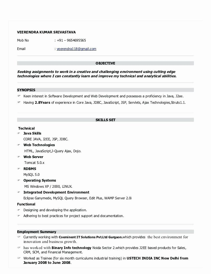 Resume format for 6 months experience in java resume