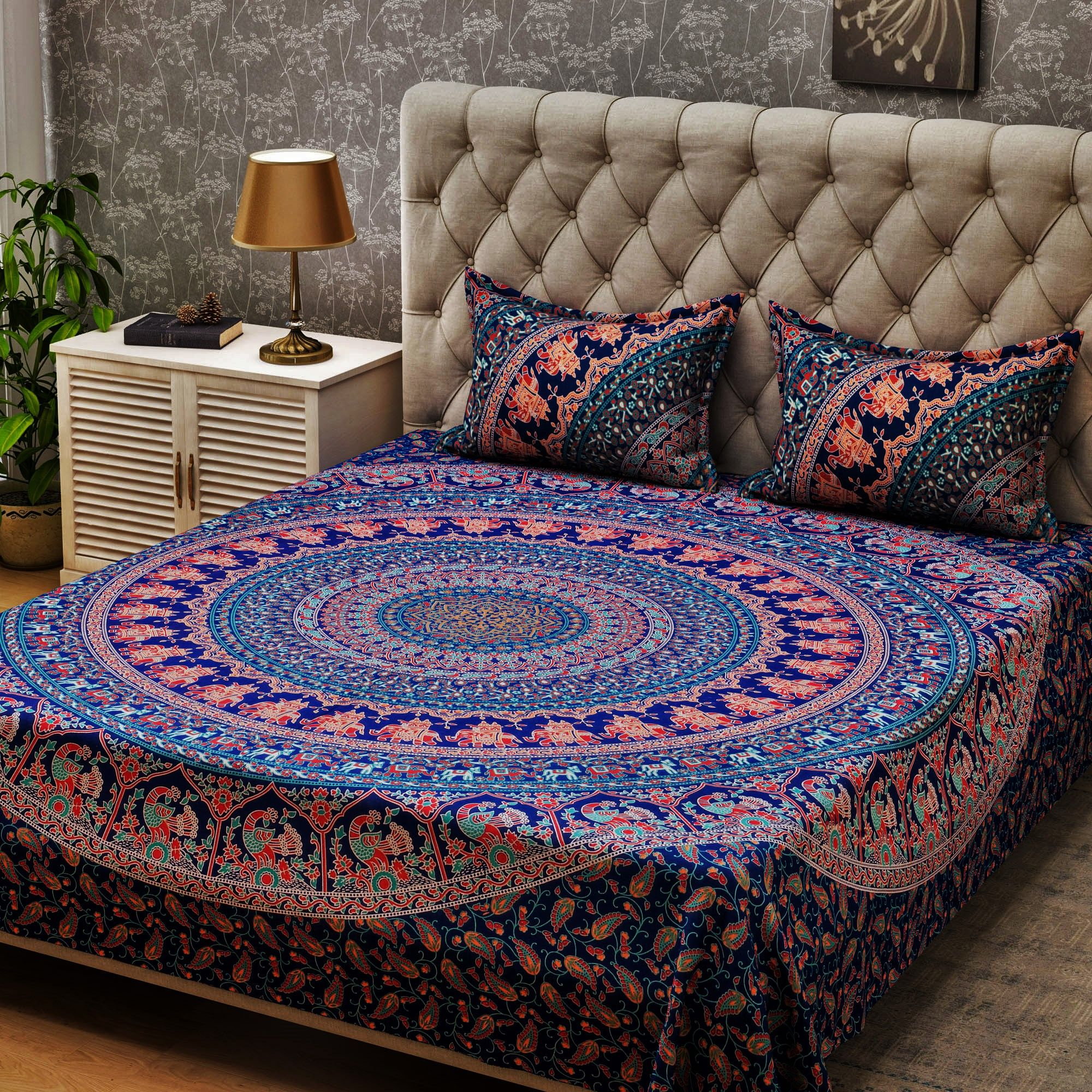 Beautiful Navy Duvet Cover Queen Mandala Tapestry Boho Chic Decor