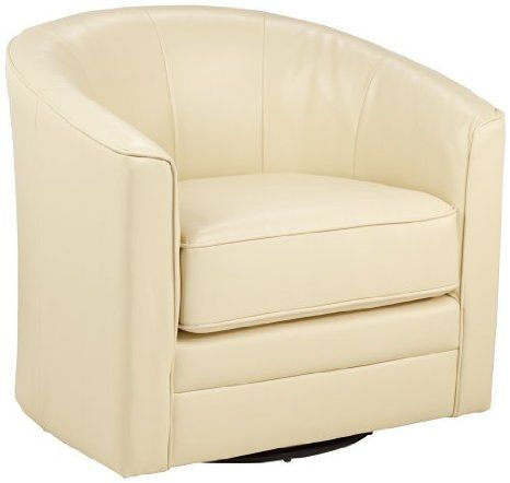 Amazon Com Keller Ivory Bonded Leather Swivel Tub Chair