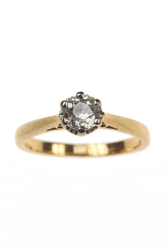 18 Ct Gold Vintage Ring Mit Diamant Solitaire England Um 1970