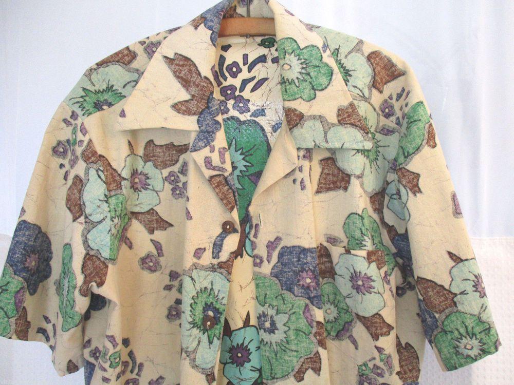 adbf3084abd42 JC Penney Towncraft Hawaiian Large L Shirt Mens Reverse Print Cotton  Vintage  Towncraft  Hawaiian