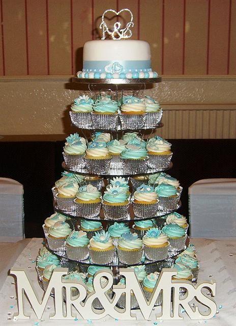 Swirl Rose Wedding Cake Baby Ice Blue Wedding Cupcake