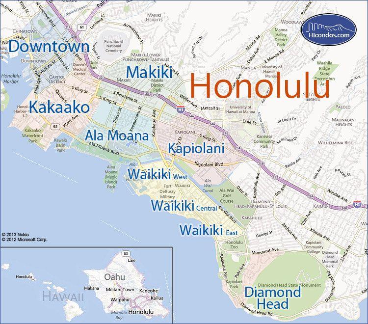 Map Of Honolulu Hawaii   compressportnederland
