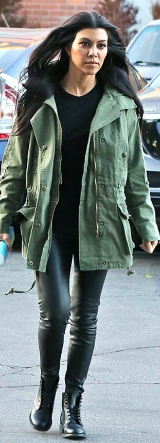 Who made Kourtney Kardashian's green jacket, black leather pants ...