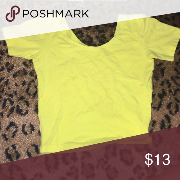 d48212a42387f American Apparel Crop top size small Neon yellow crop top! Stretches and is  soft cotton! Worn once years ago American Apparel Tops Crop Tops