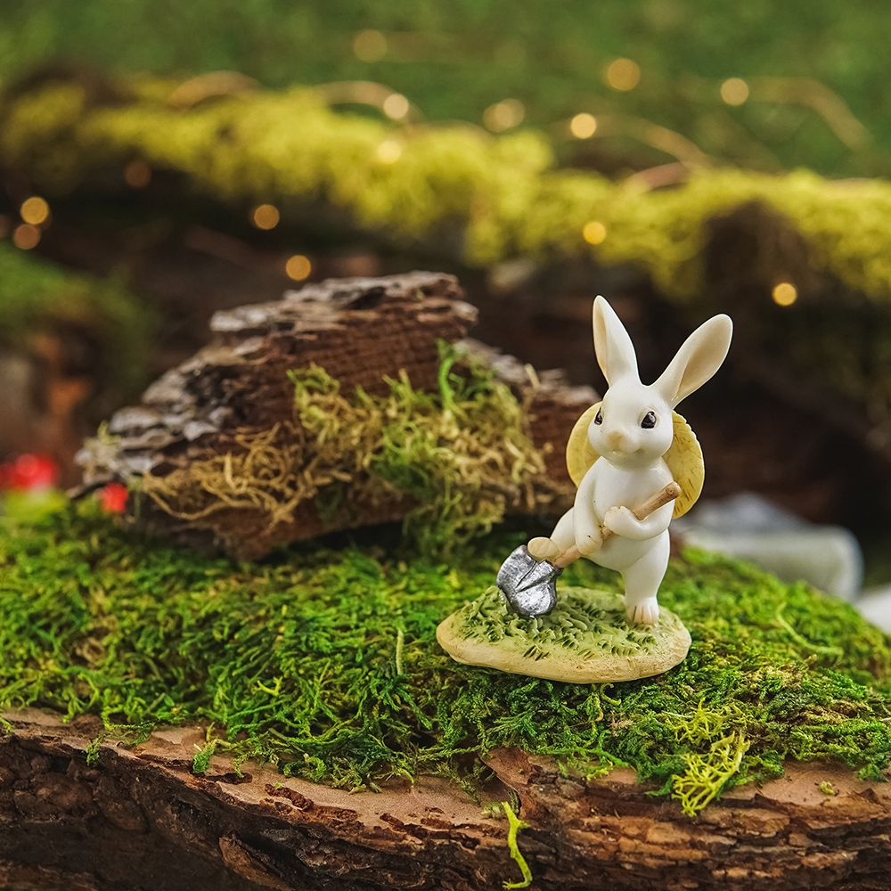 Bunny gardener digging Fairy garden supplies, Miniature