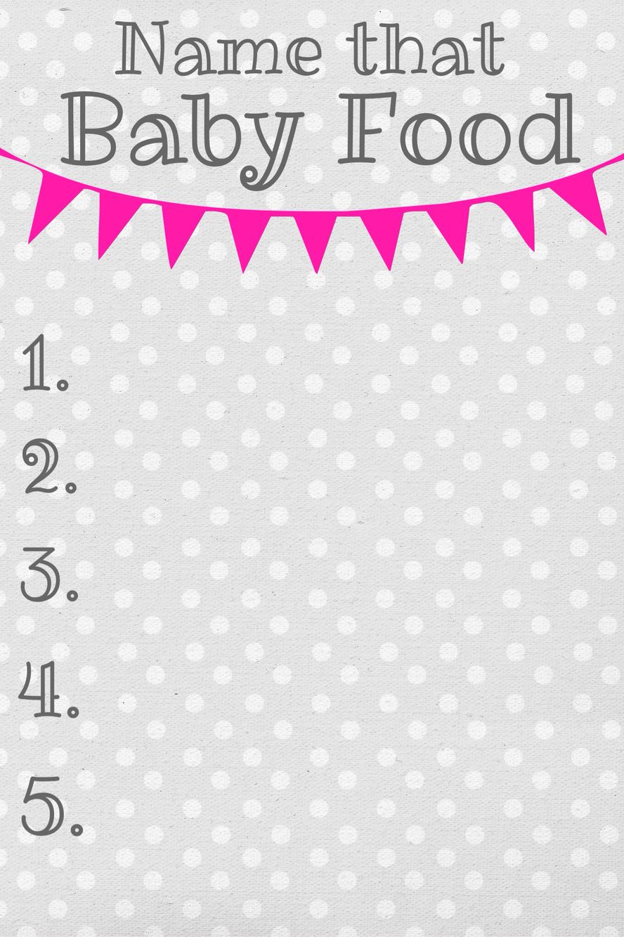 Guess that baby food baby shower game template Baby food