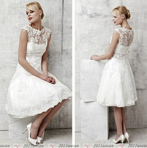 New Design Custom Size White/Ivory Bead Short Lace Wedding Dress Bridal's Gown | eBay