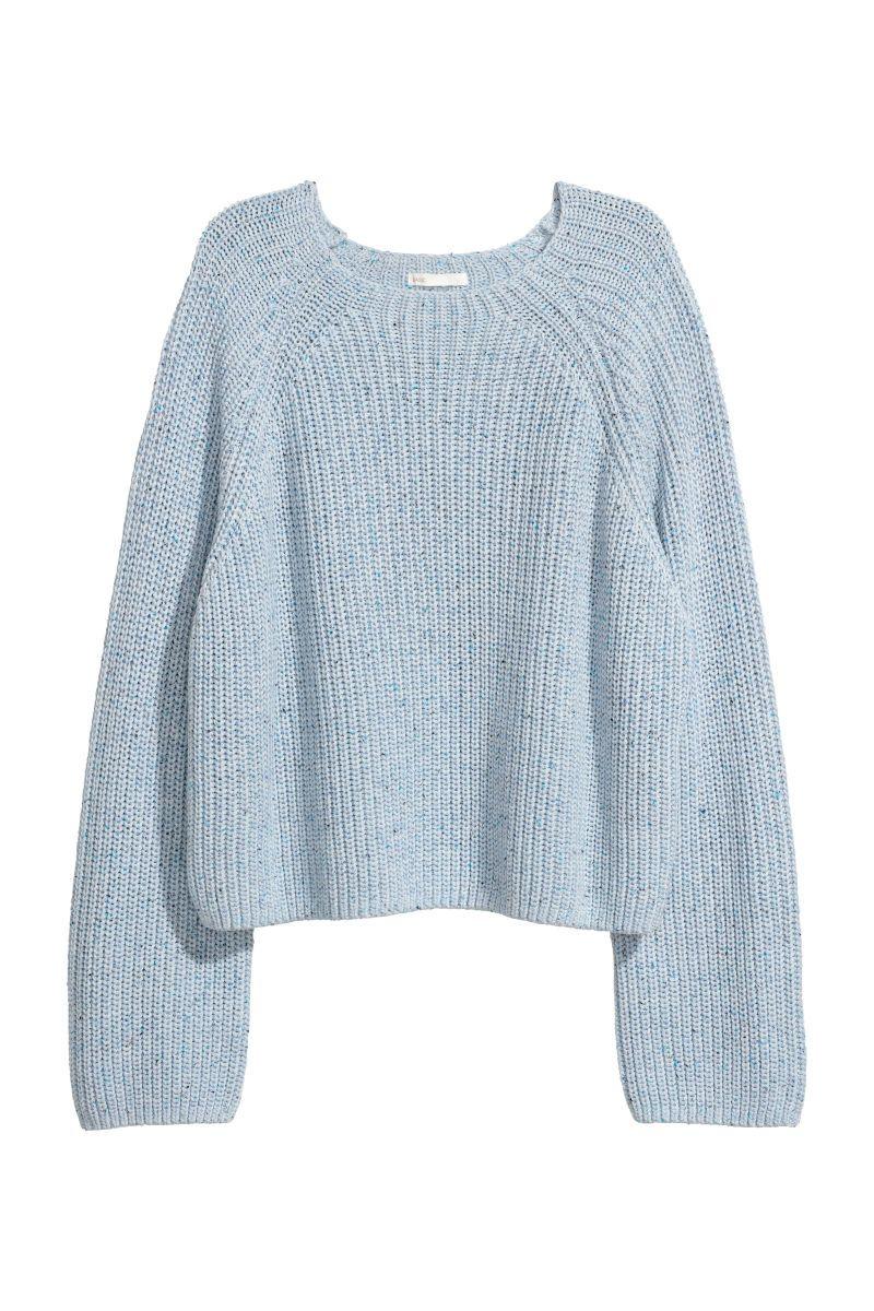 Light blue melange. Short, rib knit sweater in a soft cotton
