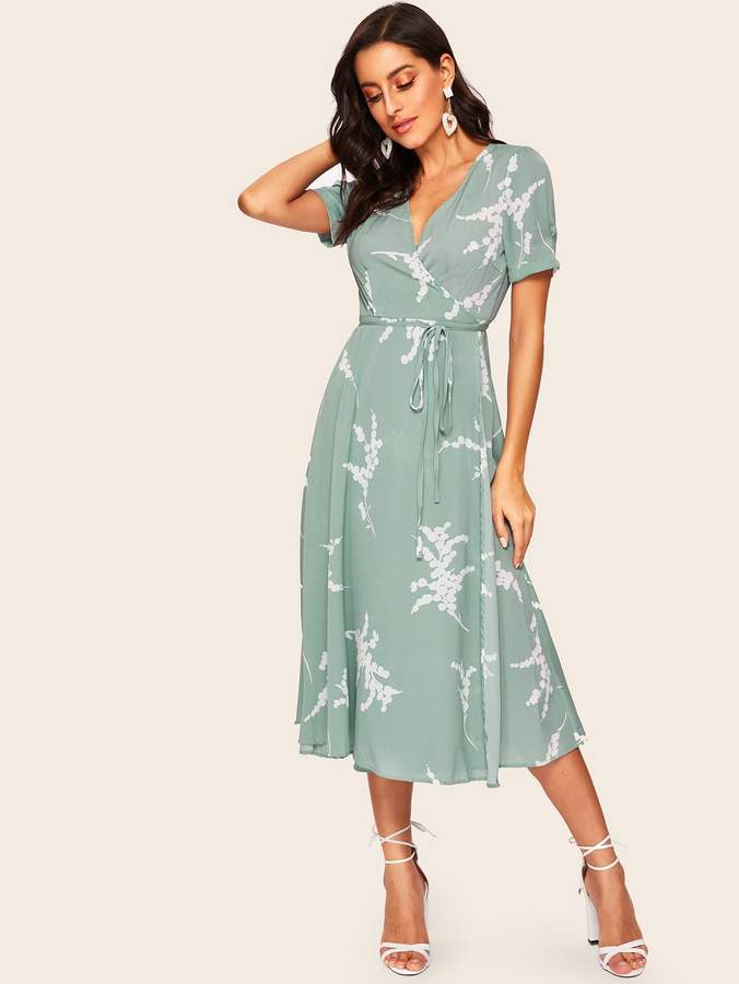 60557179c3 Shein 60s Surplice Neck Wrap Belted Printed Dress in 2019 | Products ...