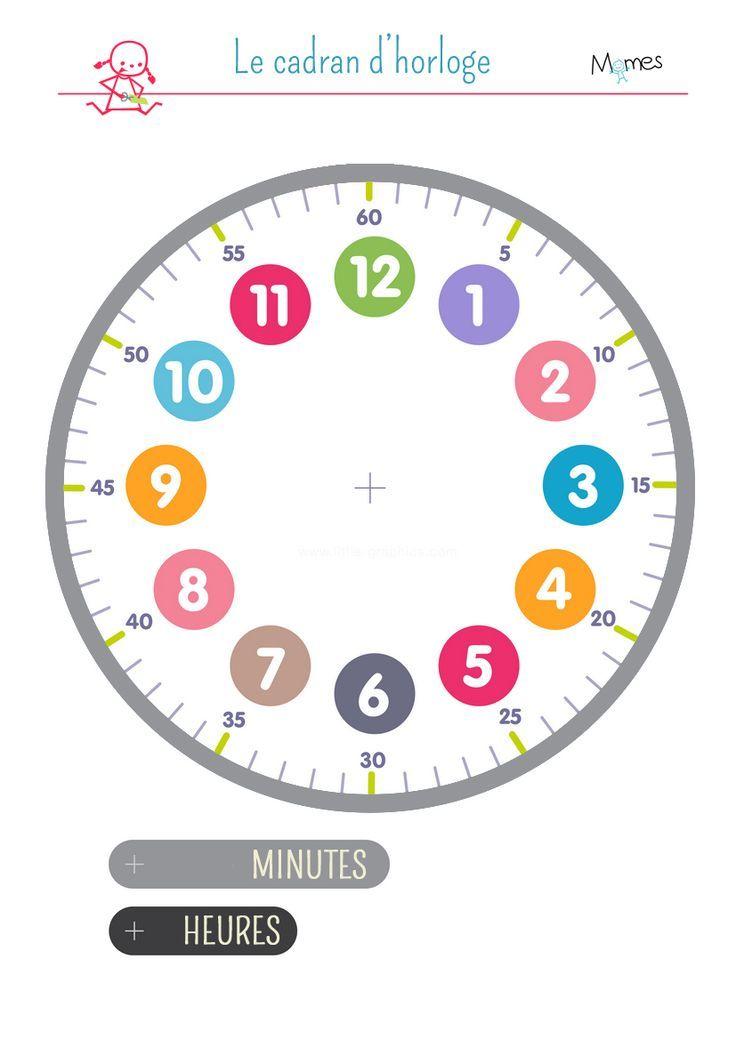 cadran d 39 horloge imprimer pour apprendre horloge et heures. Black Bedroom Furniture Sets. Home Design Ideas