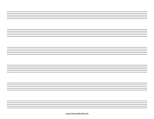 Blank Music Staff Paper PDF Piano Teaching Pinterest Pdf - music staff paper template