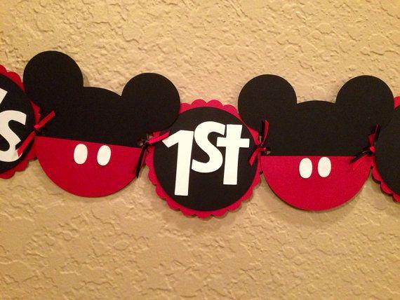 Mickey Birthday Banner On Etsy 2000 Justin39s First