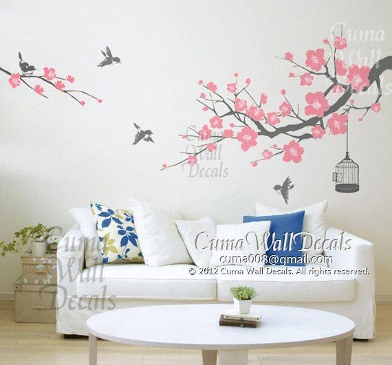Superbe Cherry Blossom Wall Decal Birds Wall Decals Flower Vinyl Wall Decals  Birdcage Wall Mural Birds Wall Sticker Nursery  Flower Tree Cuma S I Z E *