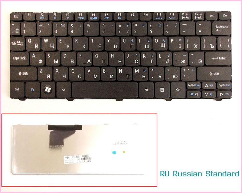 a3792ee6090 Laptop Keyboard for Acer Aspire One PK130AU2000 PK130AE3000 PK130AE1000  V111102AS1 RU Russian Version Black