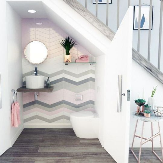 40 Brilliant Under The Stairs Employment Ideas: + 40 The Hidden Gem Of Bathroom Under Stairs Half 23