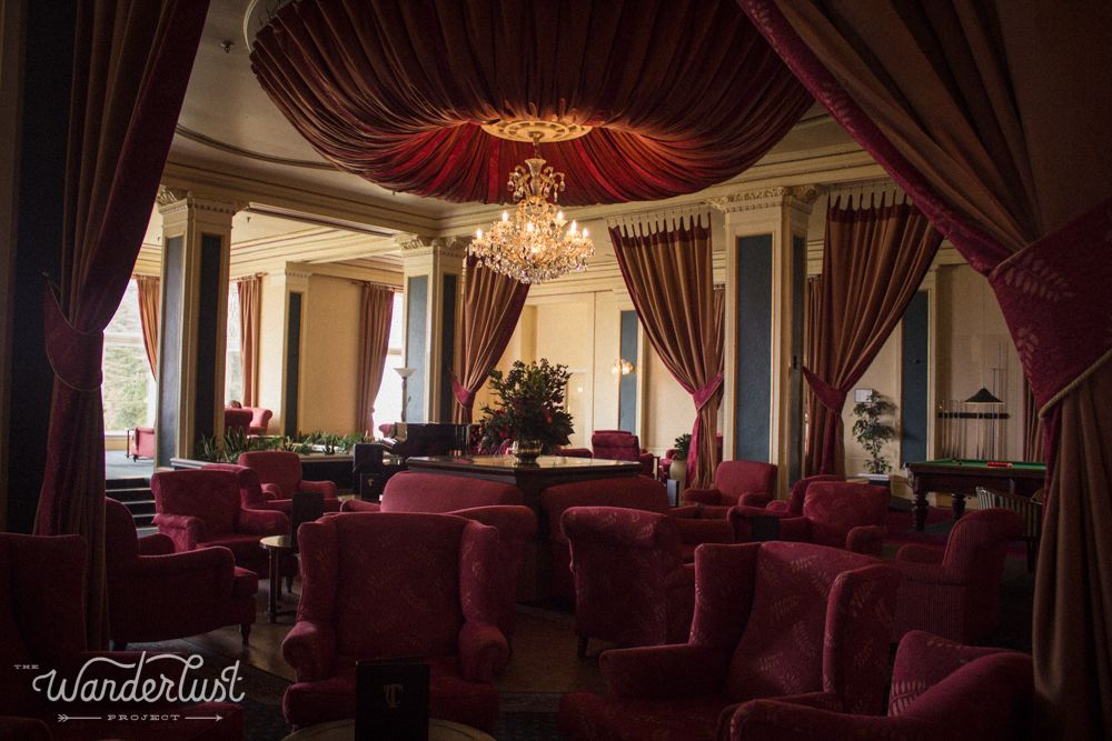 Interior of the Chateau Tongariro hotel at the base of Mt