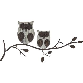 Owl Metal Wood Wall Decor