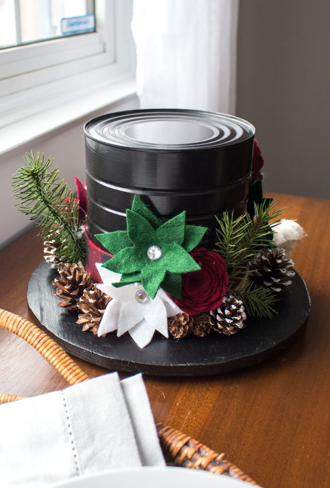Upcycle an empty coffee tin into a beautiful top hat centerpiece that can be enjoyed all Winter long Full DIY instructions included centerpiece idea